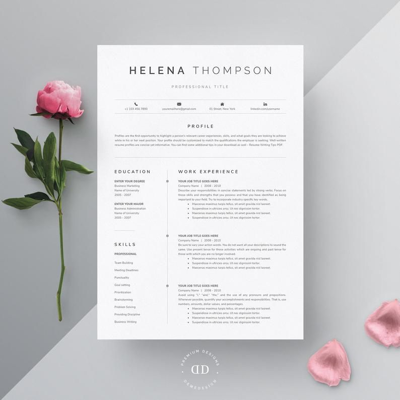 Resume Template Word, Resume Template with Cover Letter, Modern Resume Template Pages with Reference, Resume and Cover Letter Template Word