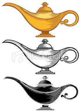 Genie Lamp Drawing : genie, drawing, Aladdin's, Lamp.eps8,ai8,jpg, Format, Available., Aladdin, Lamp,, Tattoo,, Tattoo
