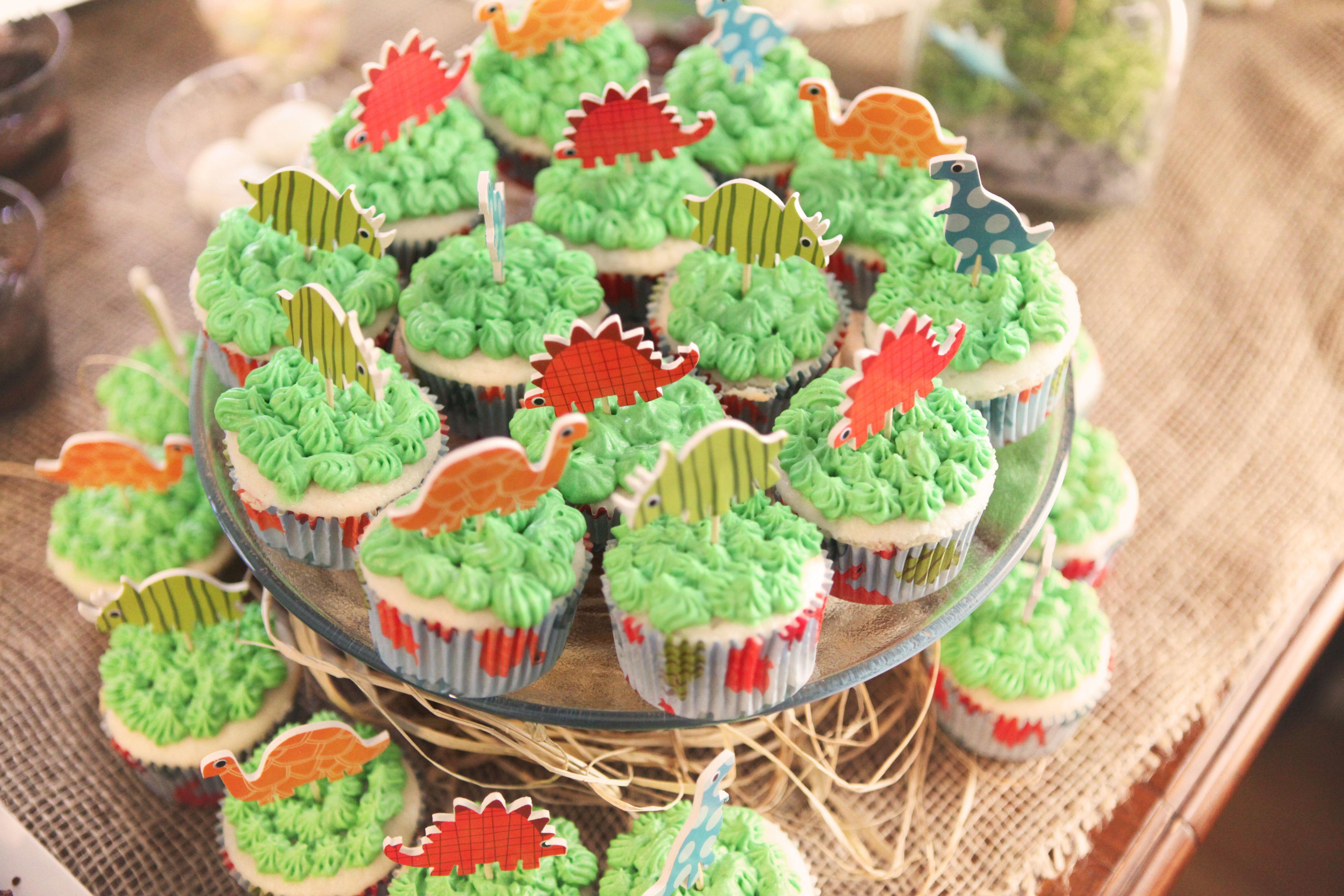 DinosaurShapedFood dinosaur birthday party cupcakes Dinasour