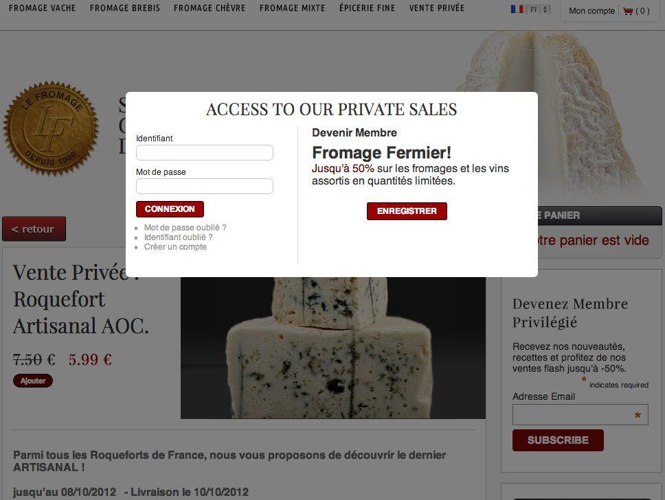 VENTE PRIVEE FROMAGE !  du jamais vu jusqu'à -50% sur des fromages fermiers de petits producteurs.  Des produits en direct des fermes à des prix vente privée!!!  Lien: http://www.lefromage.fr/fr/vente-privee