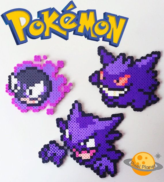Pokemon Perler Beads Sprites Set - Gastly, Haunter and Gengar