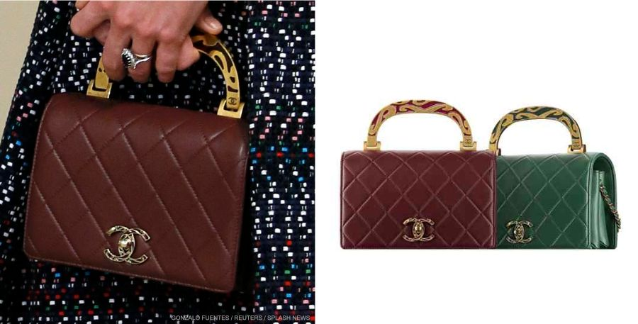 Kate also carried a Chanel bag during her day in Paris. It's the brand's Calfskin Bag with Enamel Hand. The burgundy quilted bag is from Chanel's Fall-Winter 2015-16 collection.