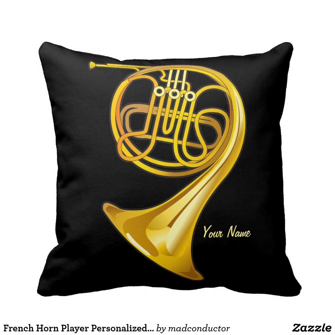 French Horn Player Personalized Music Gift Pillow | Throw Pillows ...