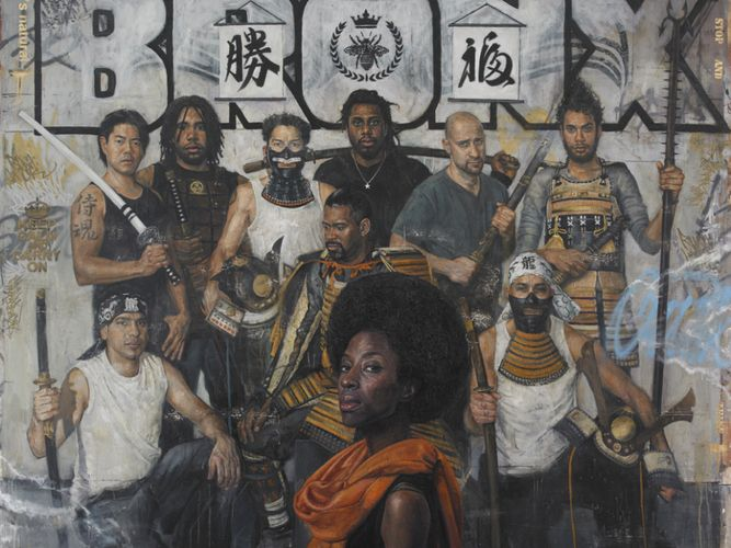 Tim Okamura - VERY talented artist and interesting style, love the portraits against the graffiti!