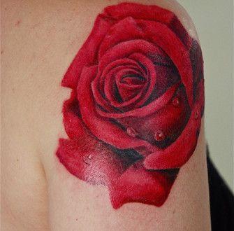 Tatouage Rose Rouge Epaule Femme Tatoo Tatouage Tatouage Rose