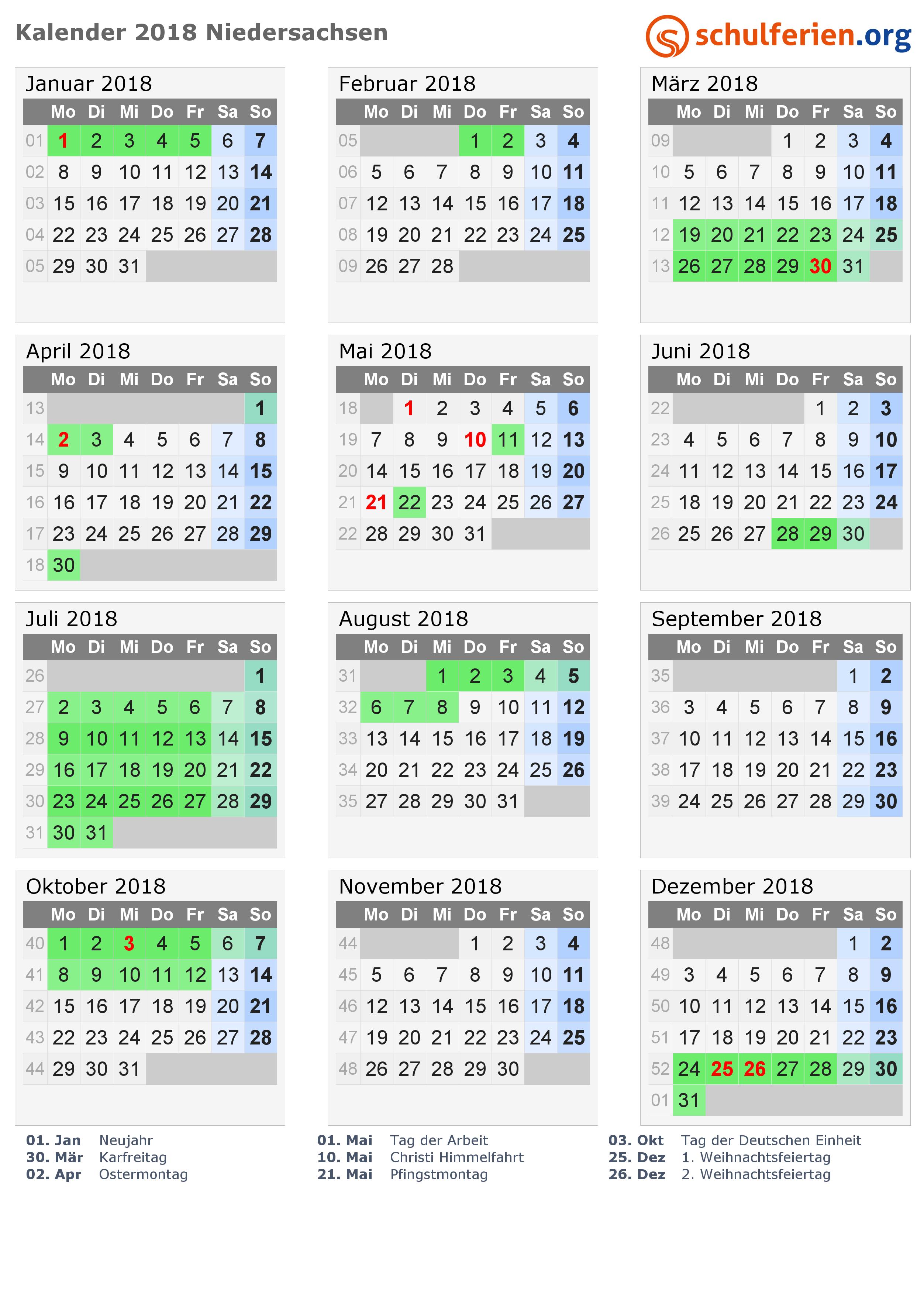 Kalender 2018 Mit Ferien Und Feiertagen Niedersachsen Ferien