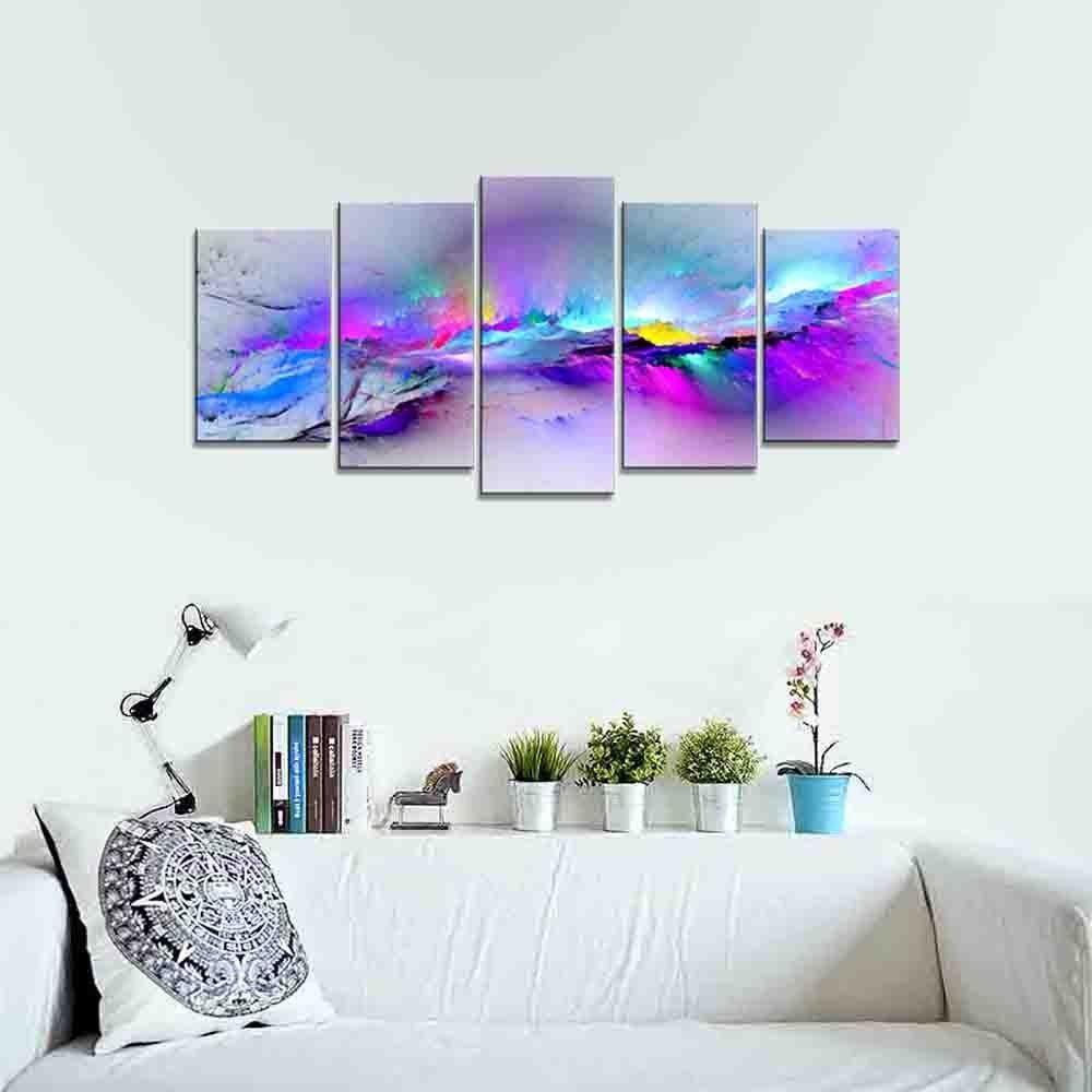 Colorful Wall Decor Wieco Art  Changing Colors Giclee Canvas Prints 5 Panels Modern