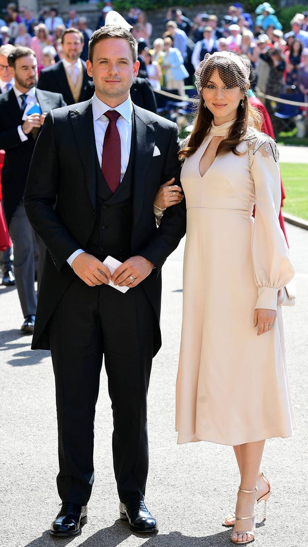 The Guests Of The Royal Wedding Patrick J Adams And Troian Bellisario Royal Wedding Outfits Royal Wedding Guests Outfits Wedding Attire Guest