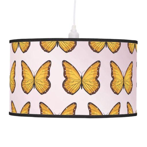 Butterflies pattern pink gradient pendant lamp