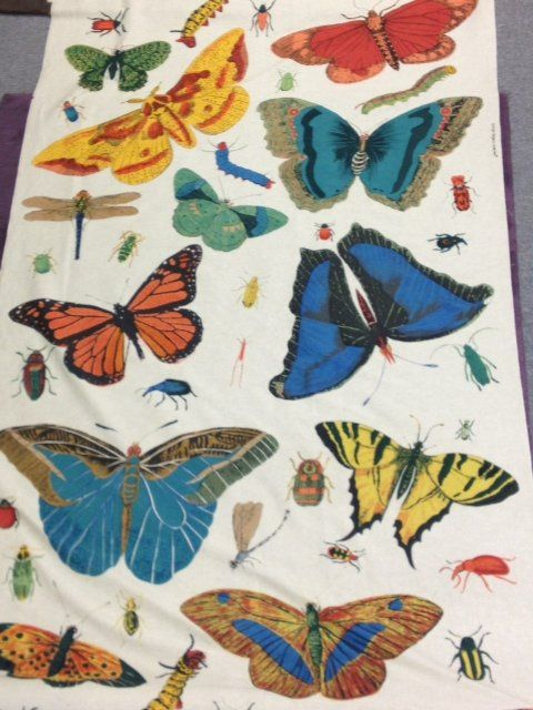 Butterfly Colour Digital Printed Linen Cotton Fabric Curtain Upholstery Cushion