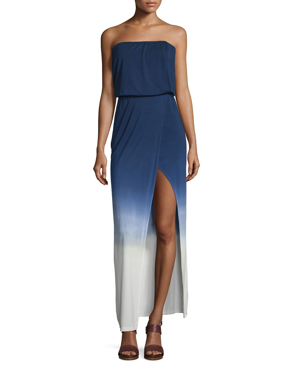 Amari Strapless Maxi Dress, Navy Ombre - Young Fabulous and Broke