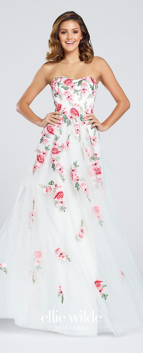 Strapless Tulle Floral Applique A-Line Prom Dress - EW117027 ...
