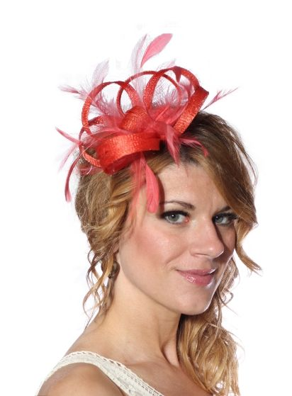 Orange C Feather Sinamay Fascinator Hat