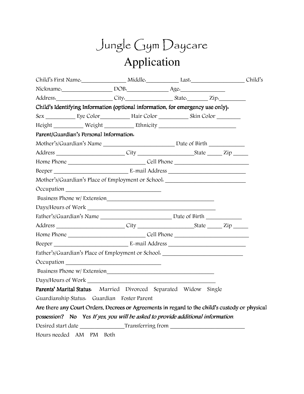 Day Care Application Forms Template  Daycare