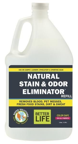 Stain and Odor Remover - Natural Cleaner, One Gallon | Better Life —  Our color-safe stain and odor eliminator puts spots and smells in their place, releasing dirt and naturally neutralizing unwanted aromas. It's the best of clean for the worst of times.  Clothing. Pre-treat tough stains and smells from grass, dirt, blood, sweat, and grease by spraying directly onto the problem area until it's saturated. Launder as usual. Use as a laundry booster by adding 2 oz. to your wash cycle.