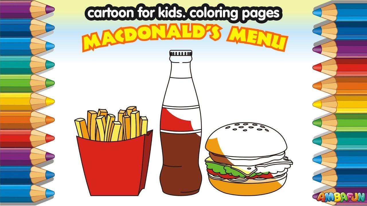 Mcdonalds Set. How to Draw Mcdonald Food French Fries, Coca Cola ...