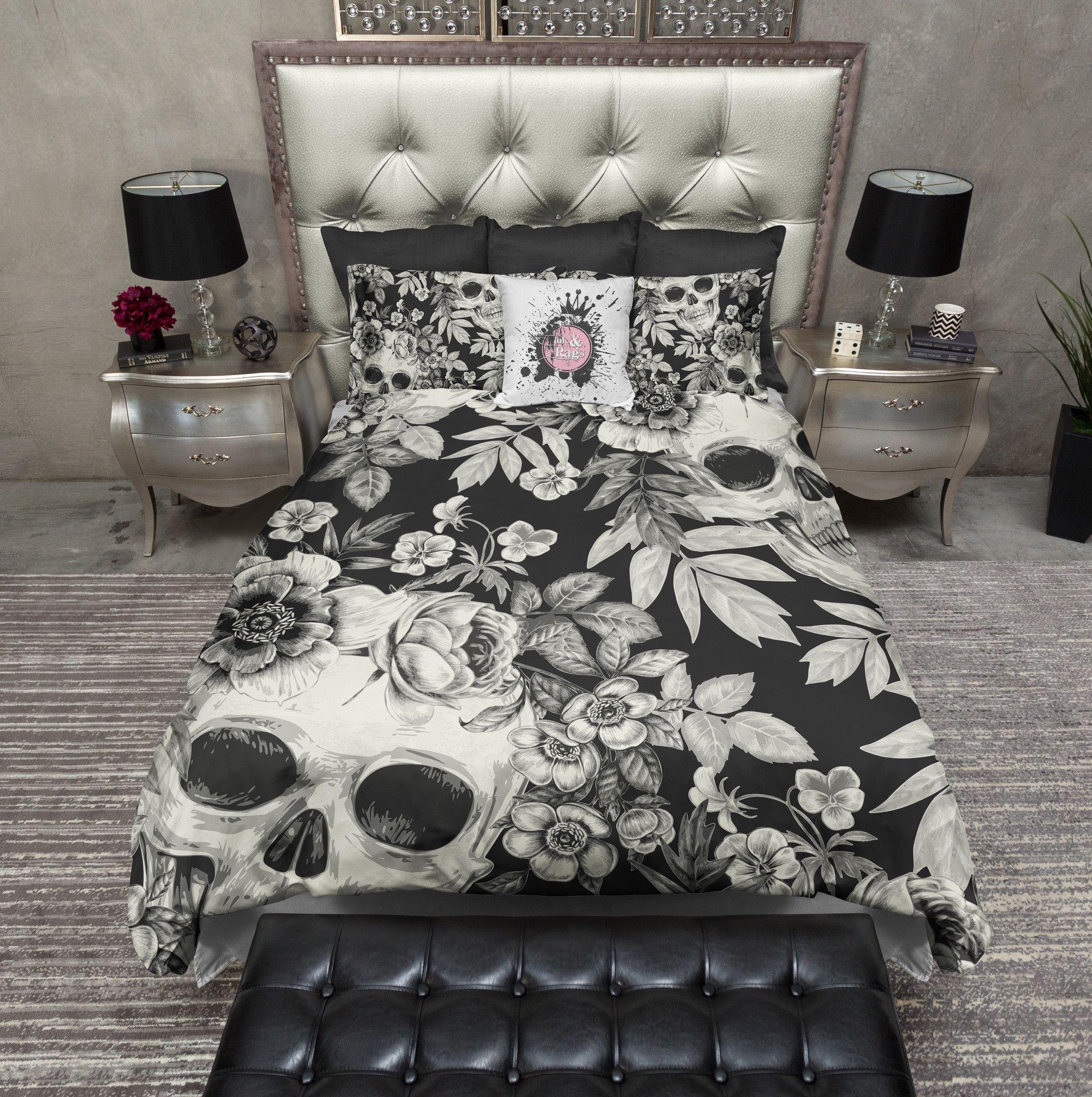 Cream On Blackprint Skull Bedding Cream Duvet Bedding Sets Bed Linens Luxury Duvet Bedding