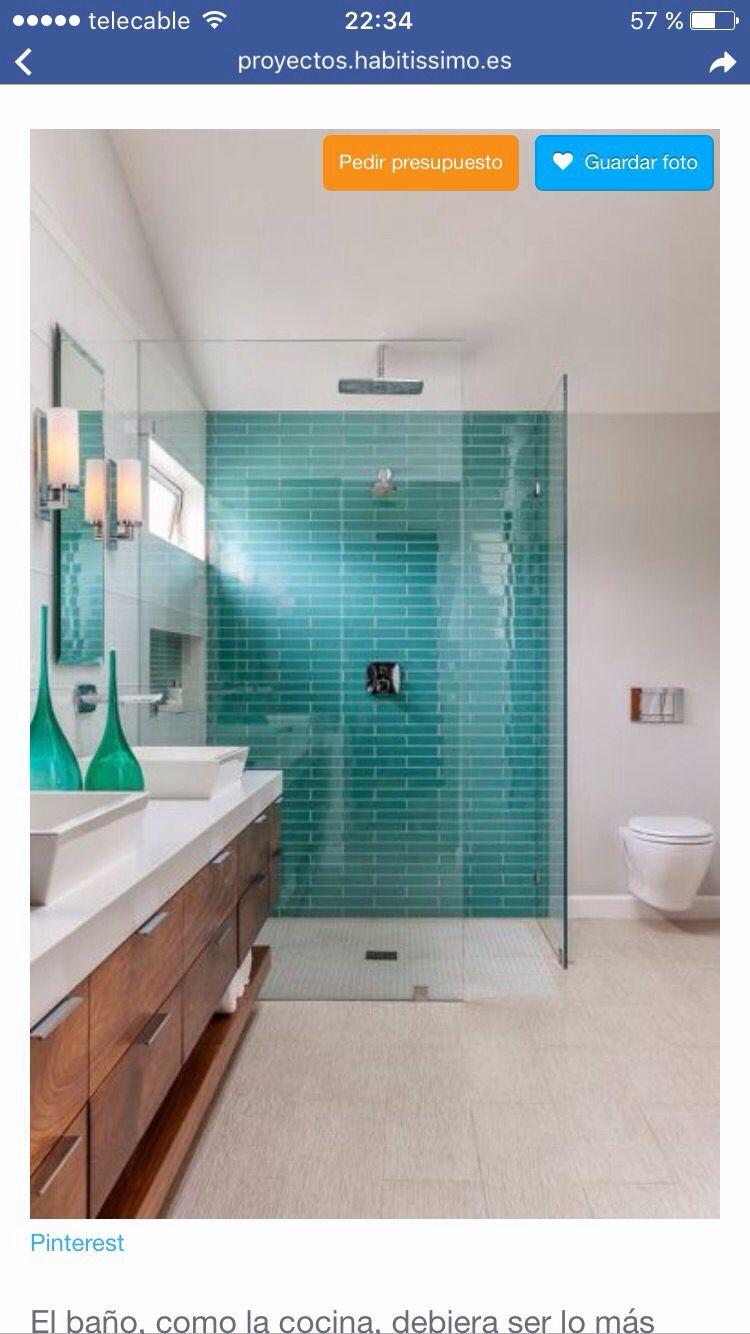 Idea baño con plato ducha de obra. Ambiente fresco y con ...