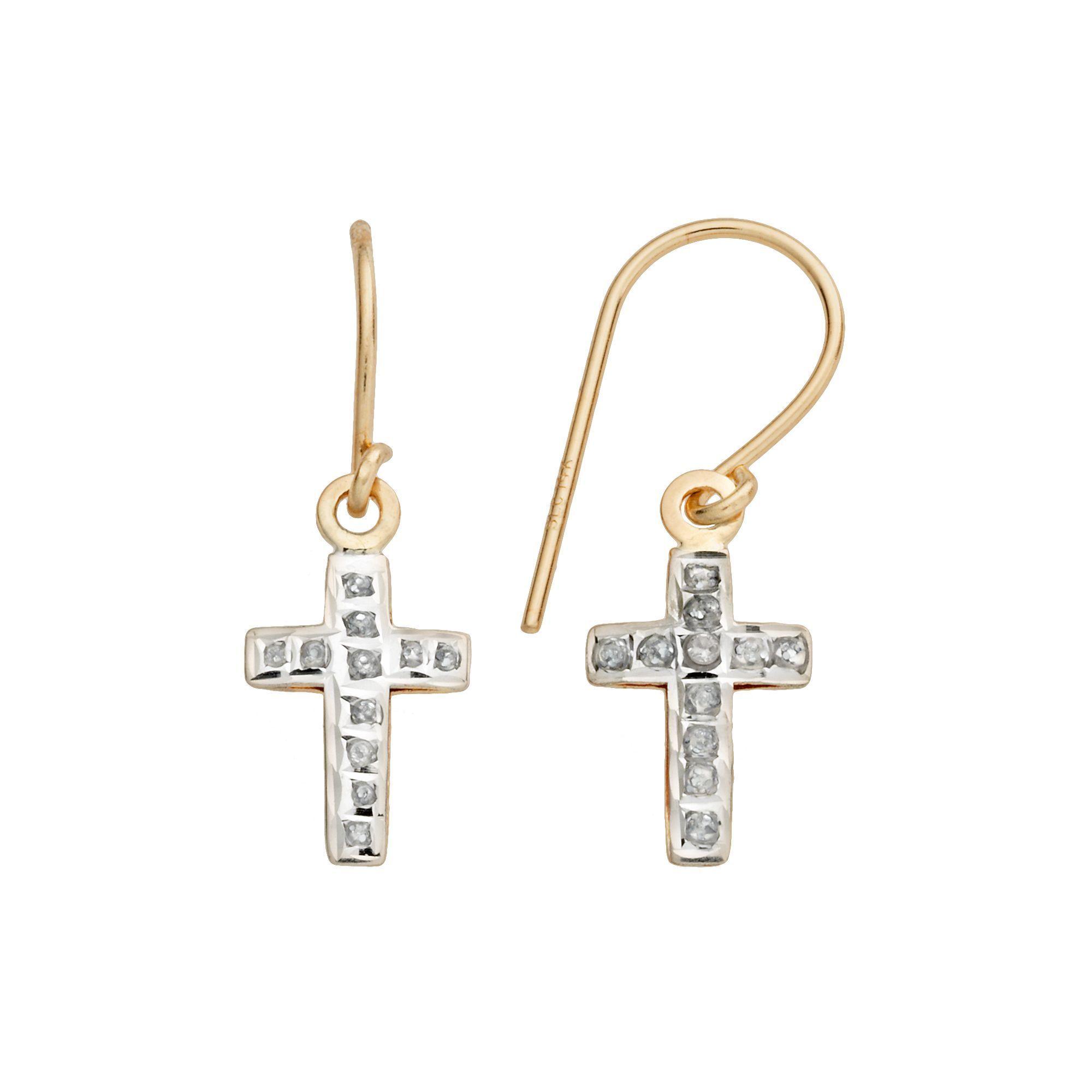 Diamond Fascination 14k Gold Cross Drop Earrings Women S Yellow