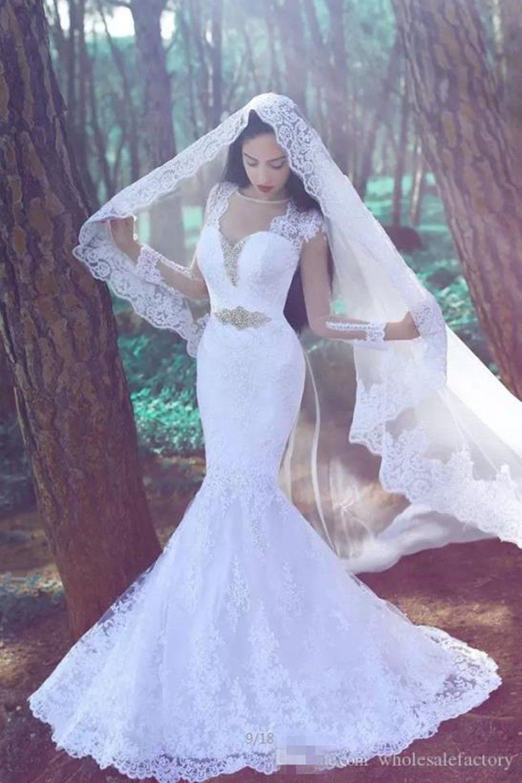 Stunning mermaid lace applique wedding dress long sleeve whiteivory