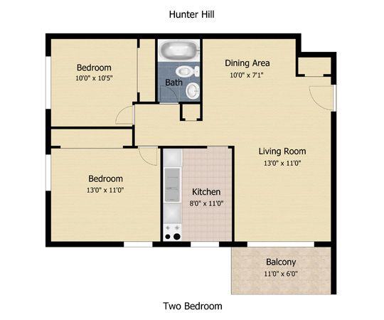 680 square feet apartment | Floorplan: Hunter Hill Apartments 2 ...