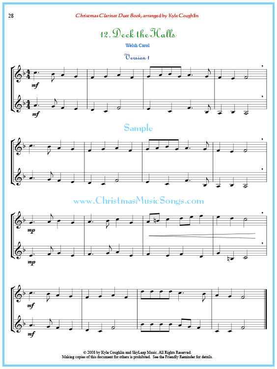 picture regarding Free Printable Clarinet Sheet Music known as Deck the Halls clarinet duet sheet new music no cost printable PDF