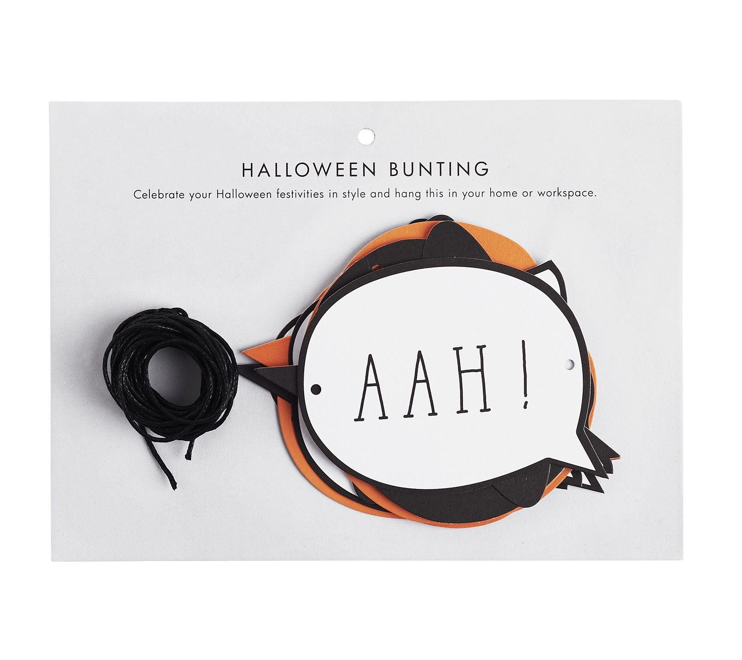 Create your perfect Halloween party or bring some fun to your home or workspace with this cute Halloween Paper Bunting. The unique cut outs are perfect for celebrating the holidays in style.