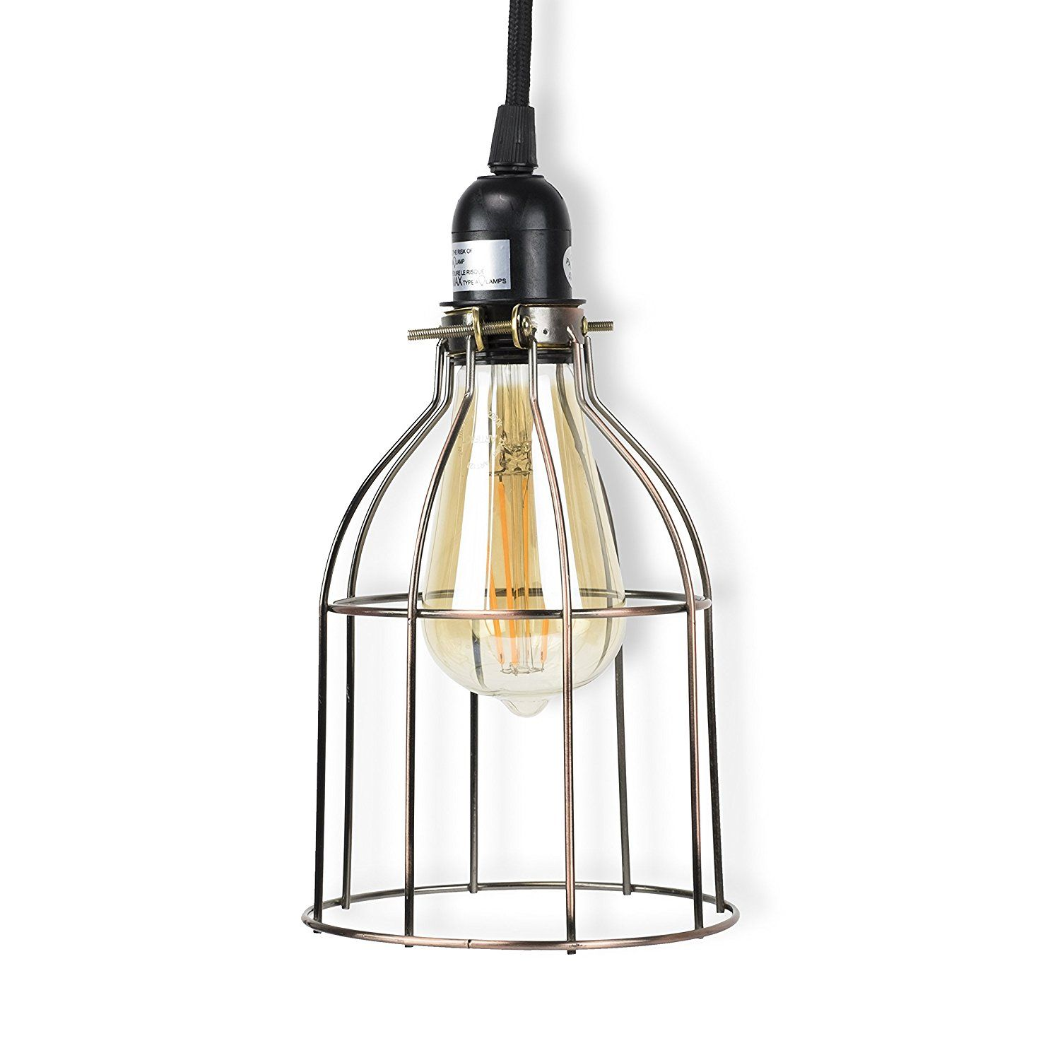 Plug-in Industrial Cage Pendant Lights | Sope Creek Porch ...