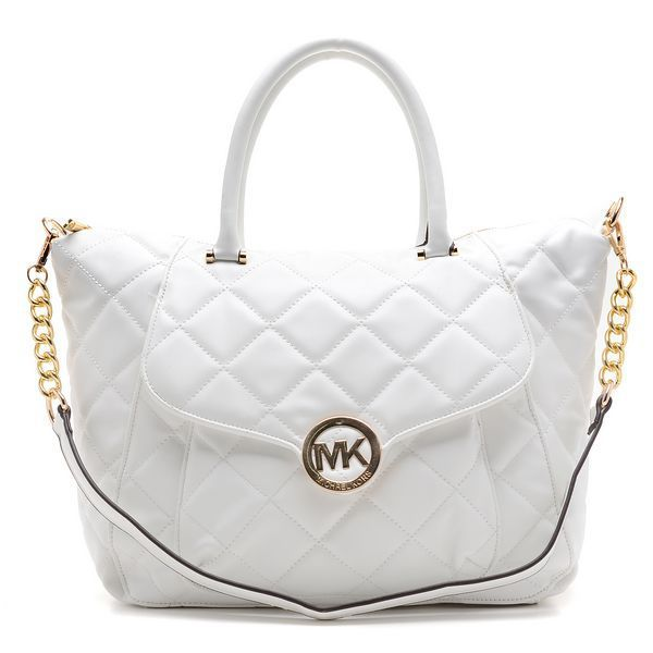 Michael Kors Outlet Fulton Quilted Large White Satchels $74.99 ... : michael kors fulton quilted tote - Adamdwight.com