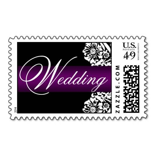 Wedding Invitation Stamps in Purple and Black