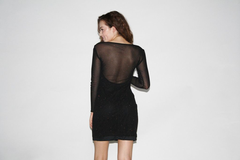 Vintage 1990s Black Sparkle Sheer Body Con Mini Party Prom Dress ...