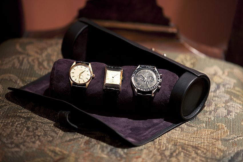 Leather watch roll handmade in england leather watch