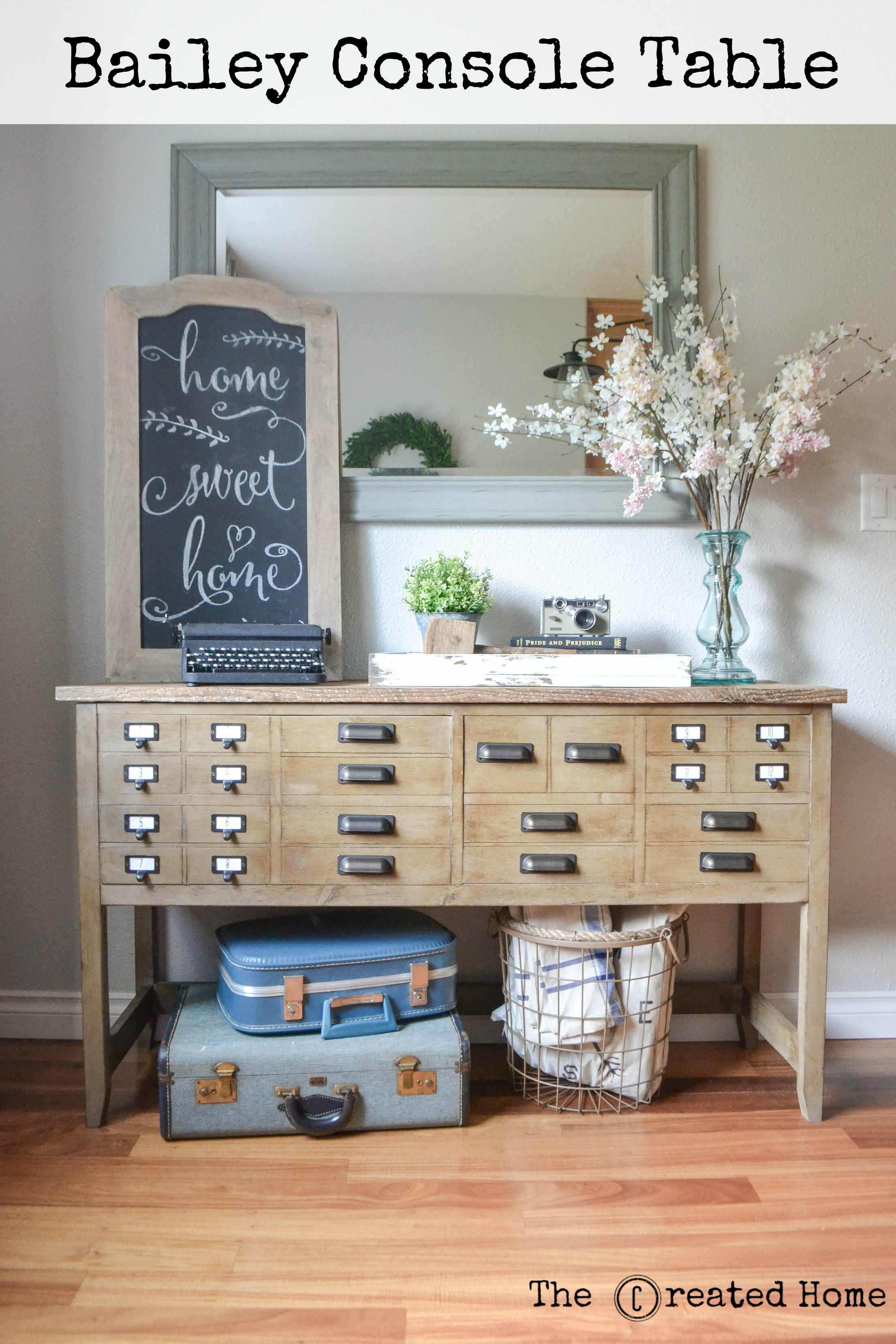 Bailey Console Table With Apothecary Style Drawers