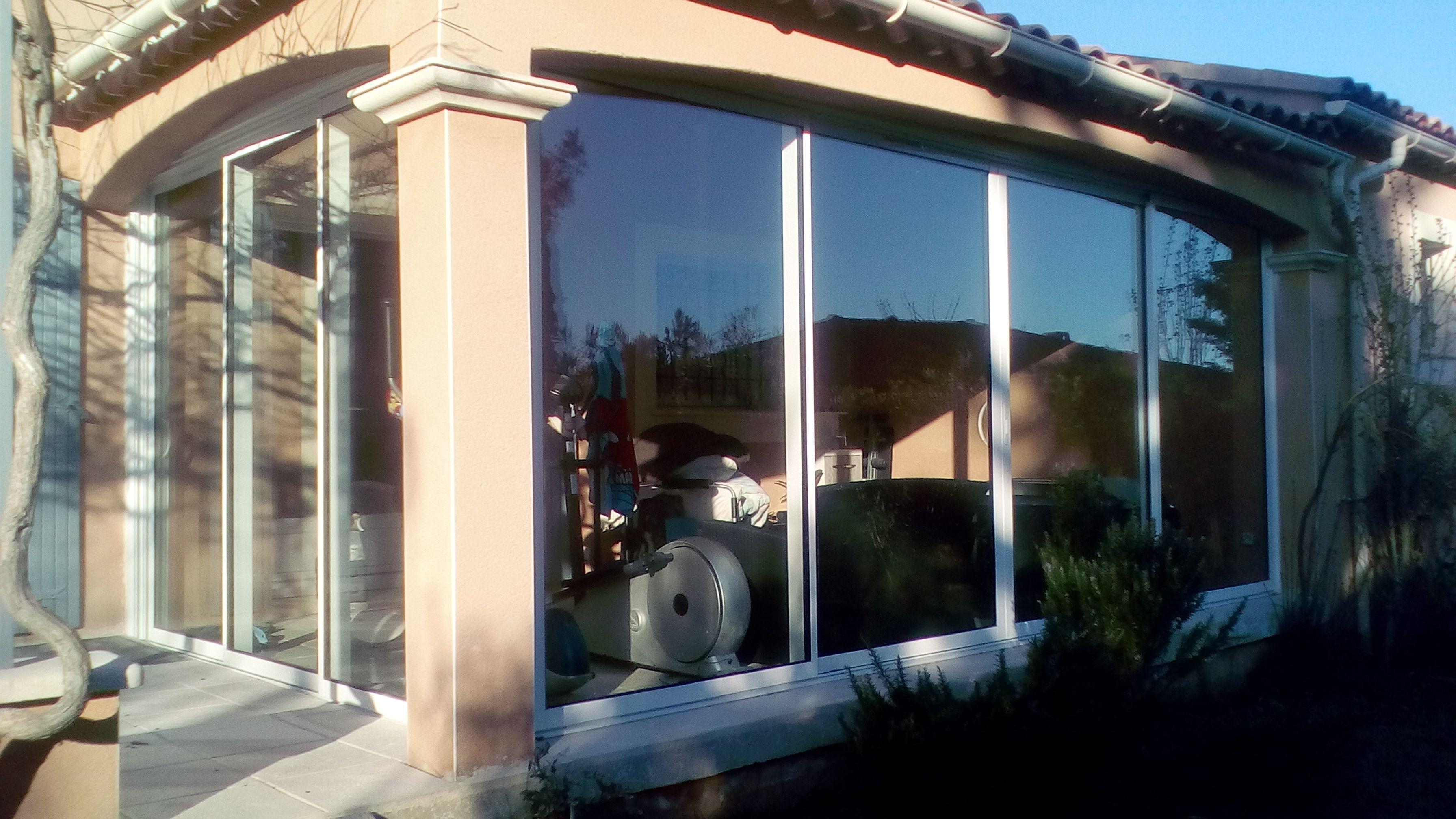 baie vitr e alu 3 vantaux 3 rails et baie coulissante. Black Bedroom Furniture Sets. Home Design Ideas