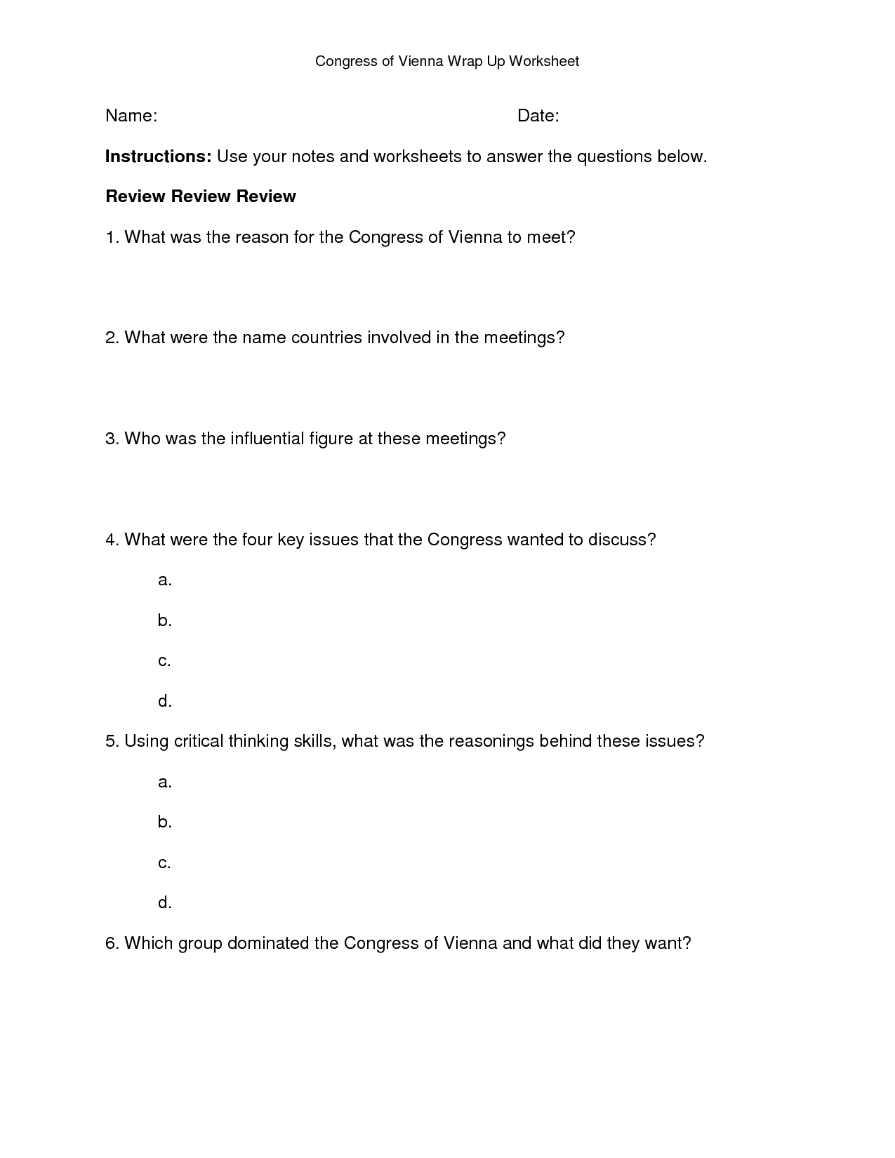 Worksheet Congress Of Vienna, Napoleonic Wars, Worksheets, Literacy Centers