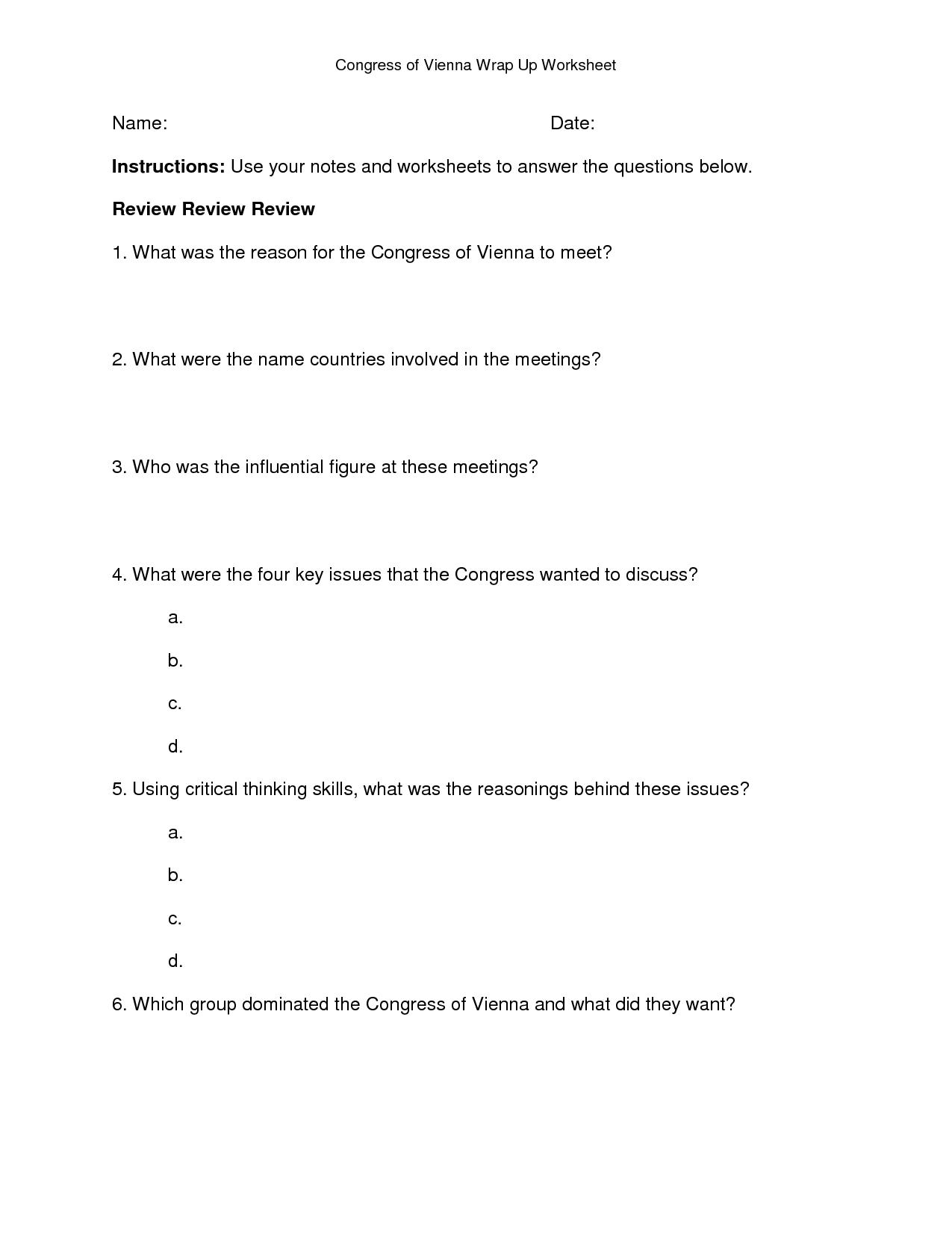 Congress Worksheet Answers