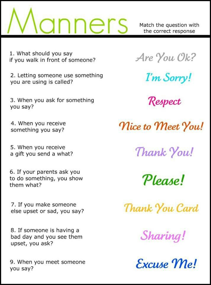 Manners  http://enchantedyankee.wordpress.com/2012/03/29/manners-match-it-up-worksheet-freebie/