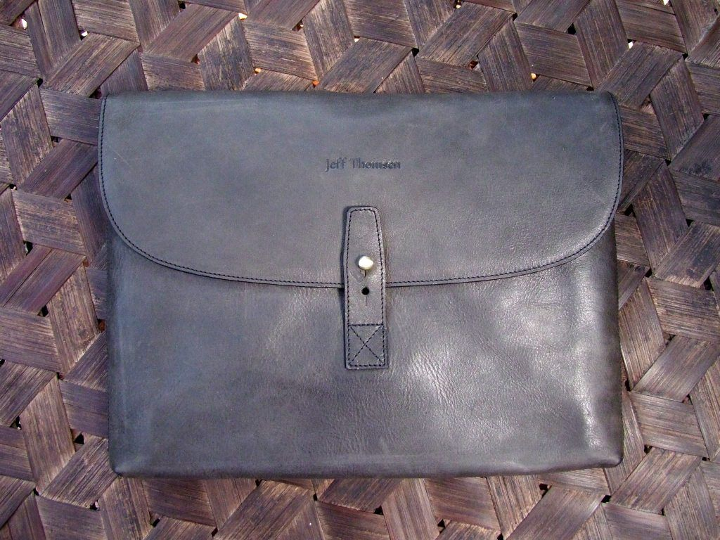 Jeff Thomsen Collection - Tablet and Document Cases, hand crafted, genuine leather - DOC004 Charcoal Grey Naturally matte