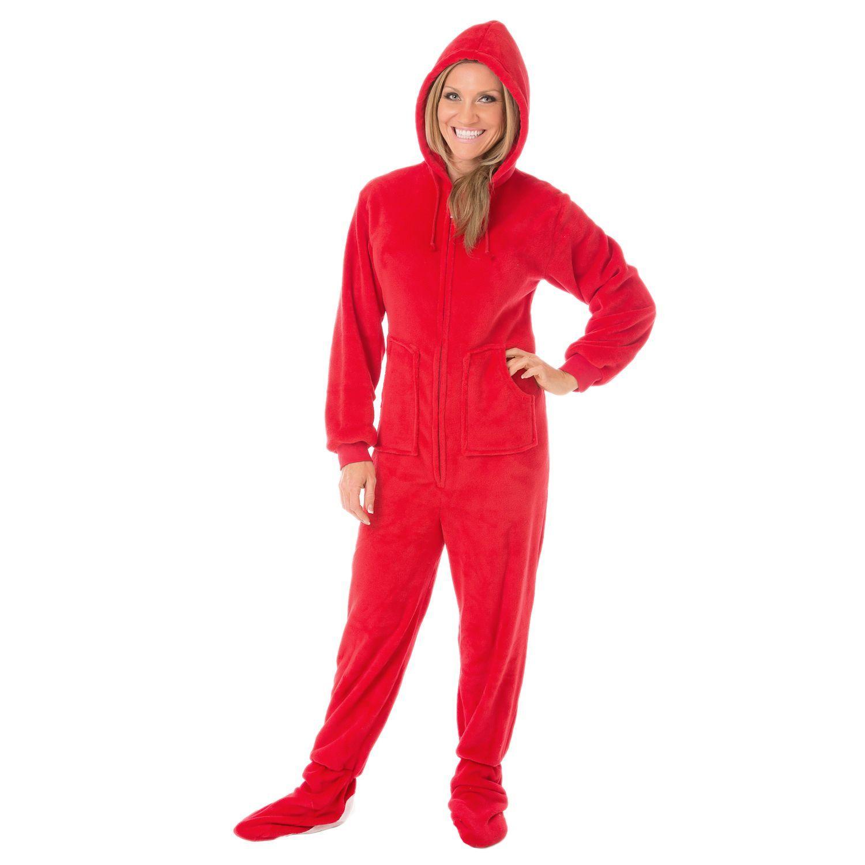 Red flannel pajamas  Big Feet Pajama Womenus Plush Hoodie Footed Pajamas  If anyone asks