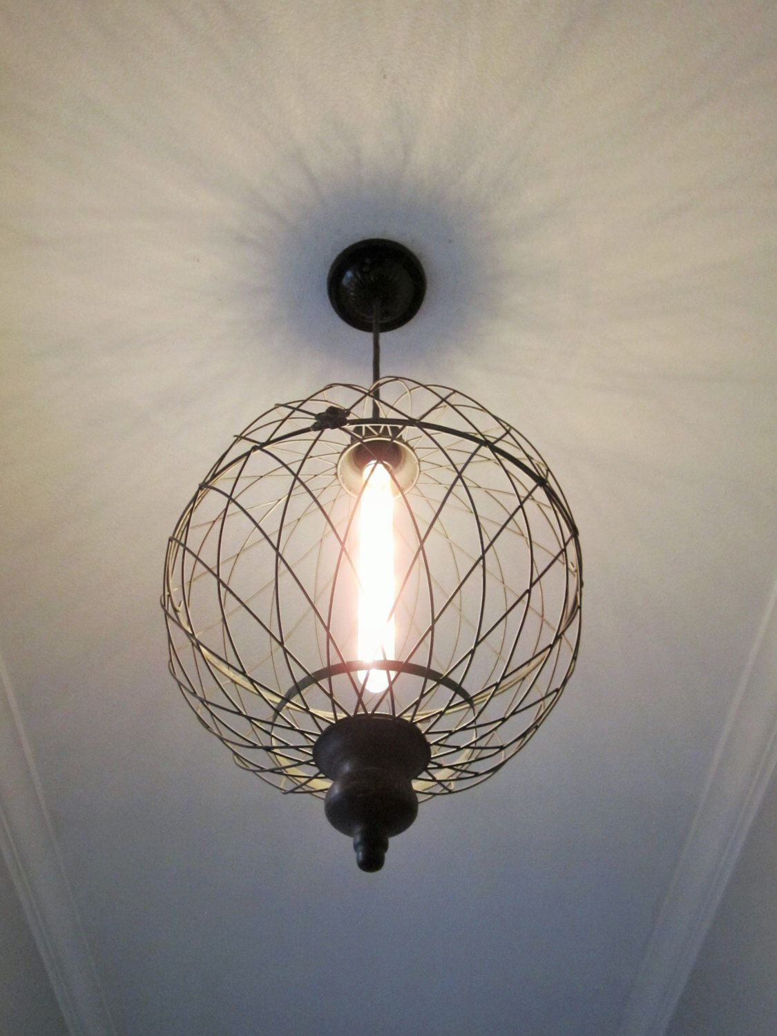 Rustic lighting large metal globe pendant light farmhouse