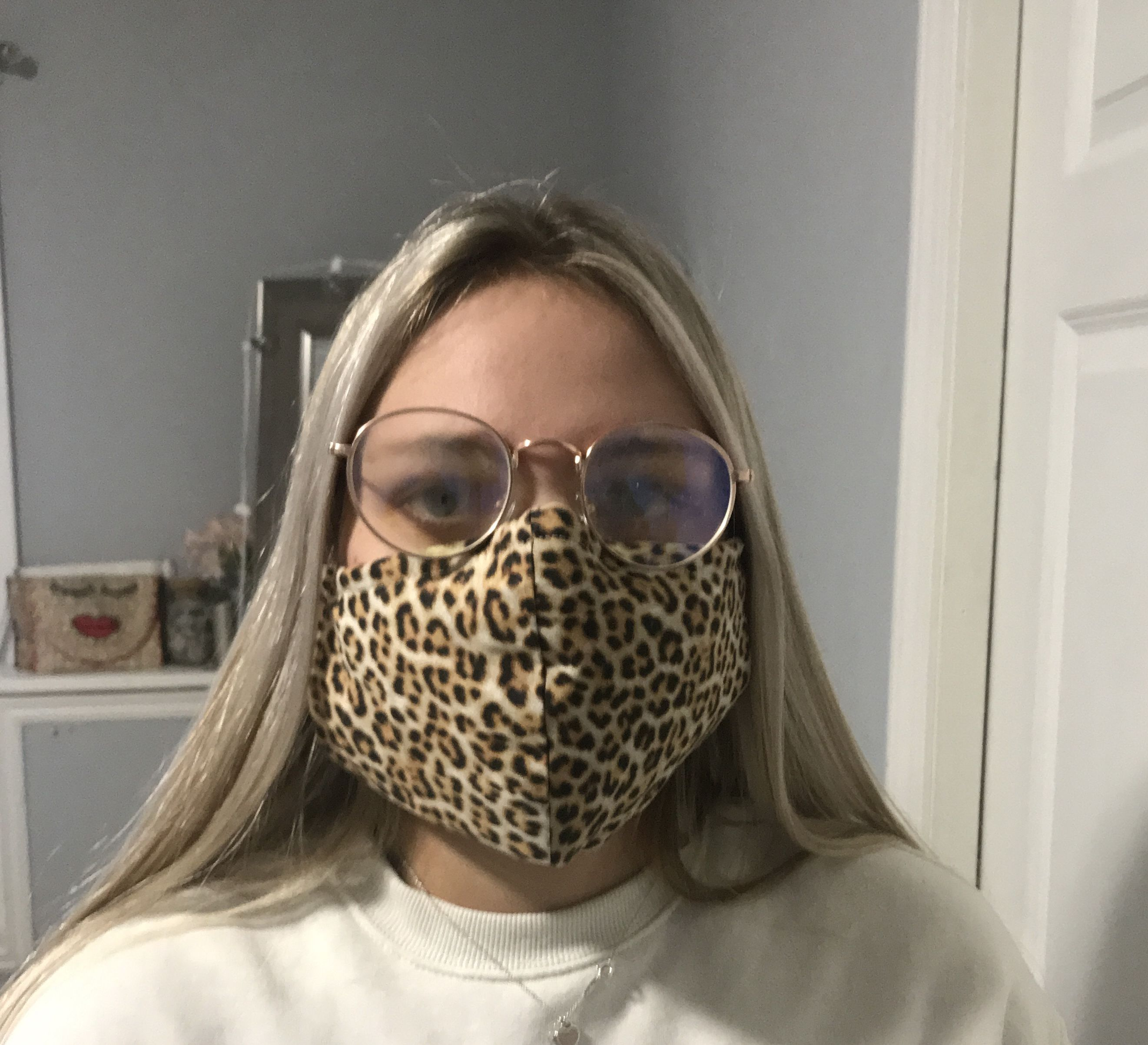 Leopard Face Mask with Filter, 100 Cotton Fabric