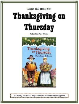 27 Magic Tree House Thanksgiving On Thursday Novel Study With