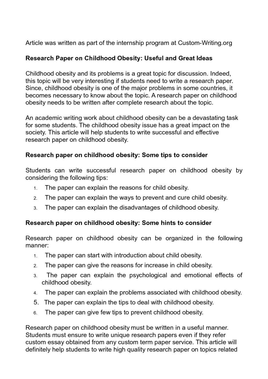 research paper outline on obesity