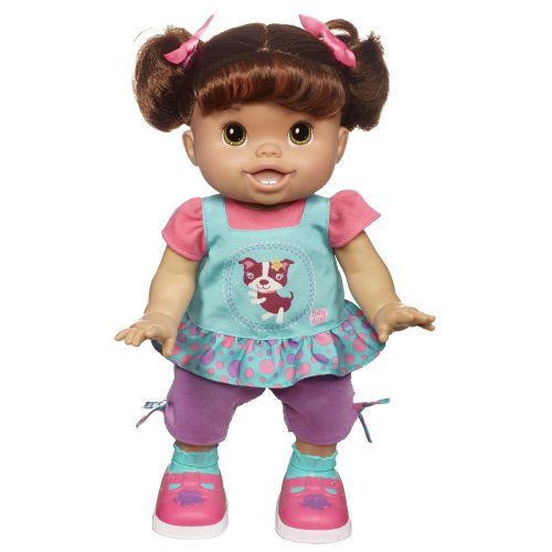 Baby Alive Wanna Walk Doll Turn The Doll On And Press The Button On Its Tummy To Start The Walking First Girls H Baby Alive Dolls Baby Alive Interactive Baby