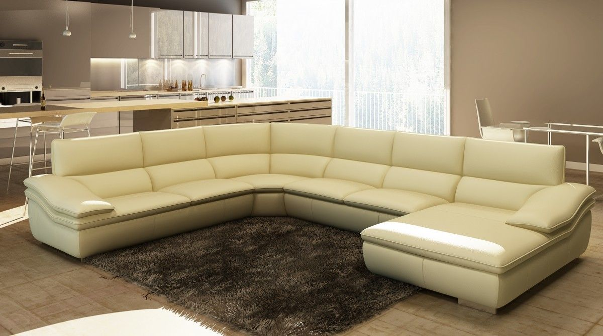 Divani Casa 782c Modern Beige Italian Leather Sectional Sofa Stylish Design Furniture Italian Leather Sectional Sofa Leather Sectional Leather Sectional Sofa