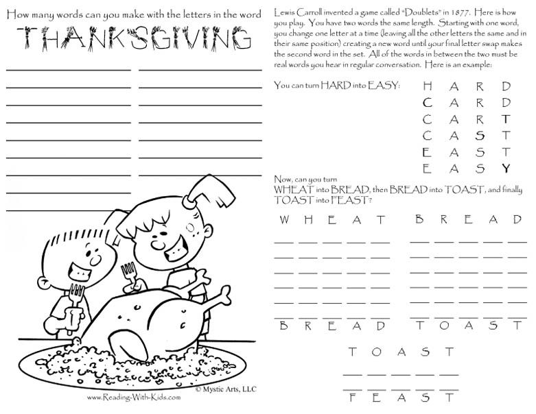 Plenty of thanksgiving activity pages to keep the kids busy while the grown ups finish