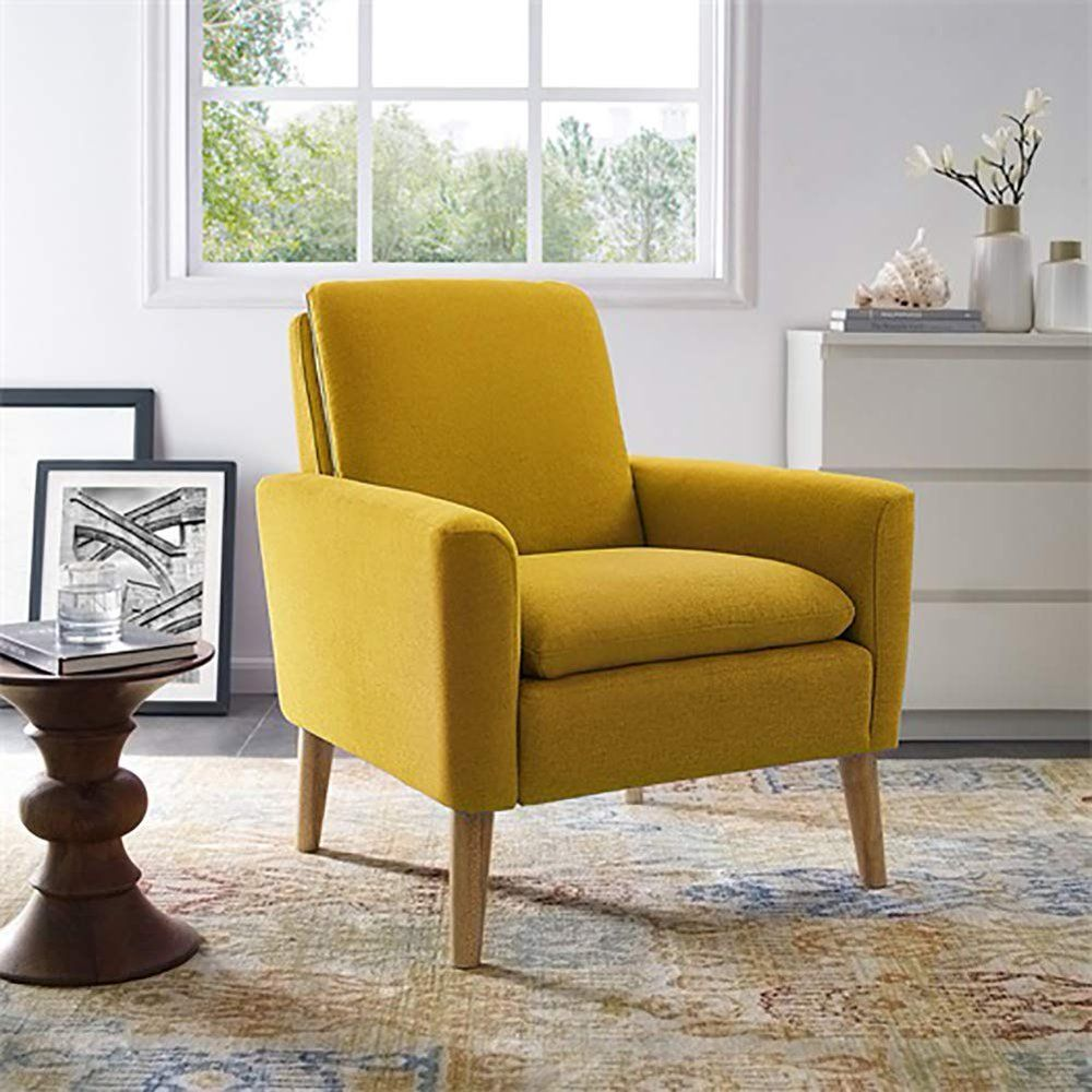 Modern Accent Chair Single Sofa Comfy Fabric Upholstered Arm Chair Living Room Yellow Walmart Com In 2020 Arm Chairs Living Room Single Sofa Chair Upholstered Chairs