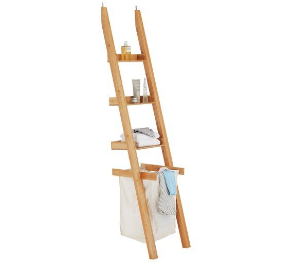 Images Photos Buy Collection Large Bamboo Ladder Shelf with Laundry Bag at Argos co uk
