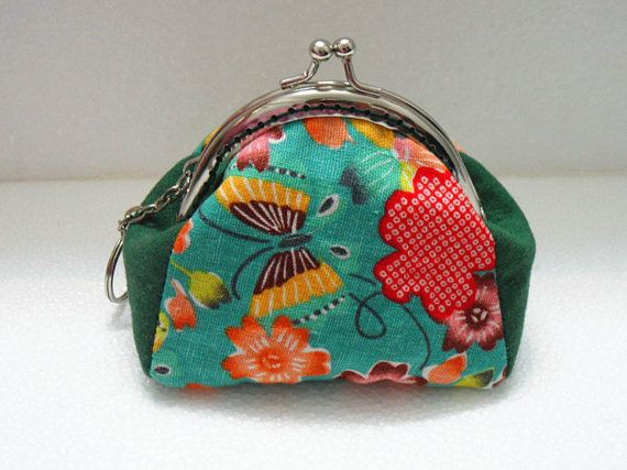 coin purse wallet clutch fabric pouch butterfly and by FabricStory, $16.50