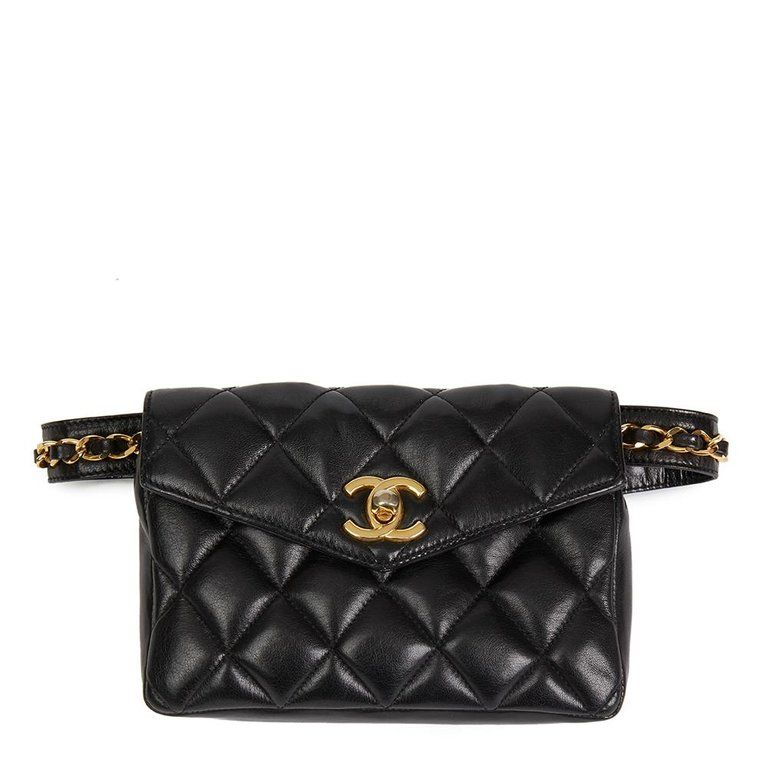 ba25e1251b9b Chanel - Vintage 1990 s black quilted lambskin classic belt bag ...